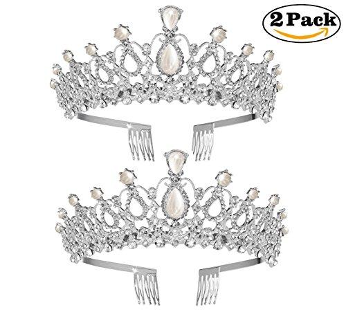 2 Pack Tiara Crown Crystal Pearl Rhinestones Tiara Exquisite Headband Comb Pin Wedding Bridal Birthday (Exquisite Pearl)