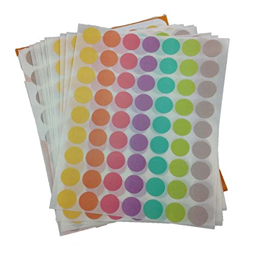 16 Mm Pastel Green (16 MM MIXED 7 PASTEL COLOURS ROUND CIRCLE STICKERS 630 PCS FOR MULTIPURPOSES)