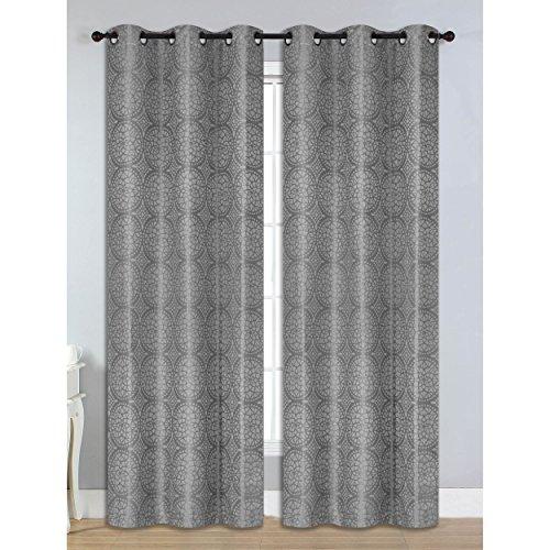 Bella Luna Marcus Jacquard Room Darkening 76 x 84 in. Grommet Curtain Panel Pair, Chocolate