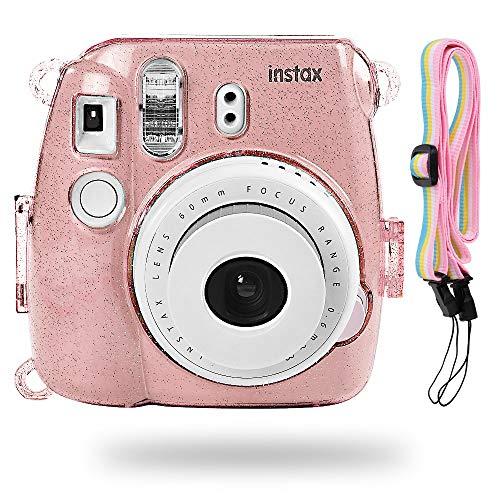 Katia Camera Case Bag Compatible for Fujifilm Instax Mini 9 Instant Camera, also for Fujifilm Instax Mini 8 Instant Film Camera with Strap - Shining Pink
