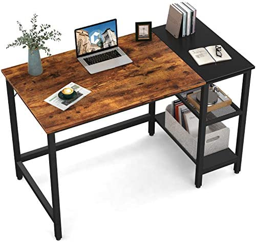 CubiCubi Computer Home Office Desk, 47 Inch Small Desk Study Writing Table with Storage Shelves, Modern Simple PC Desk with Splice Board, Brown/Black