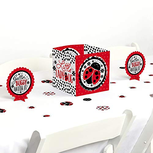 Big Dot of Happiness Happy Little Ladybug - Baby Shower or Birthday Party Centerpiece and Table Decoration Kit