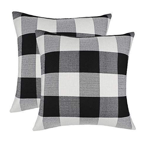 (4TH Emotion 20 x 20 Inch Black and White Buffalo Check Plaids Throw Pillow Case Cushion Cover Retro Farmhouse Decoration for Couch Sofa Bed Set of 2)