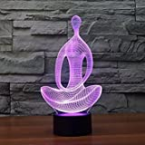 SUPERNIUDB 3D Yoga Night Light 3D LED USB 7 Color Change LED Table Lamp Xmas Toy Gift