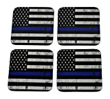 Blue Lives Matter Drink Coaster Set Gift For Police Officer Department Thin Blue Line Home Kitchen Bar Barware