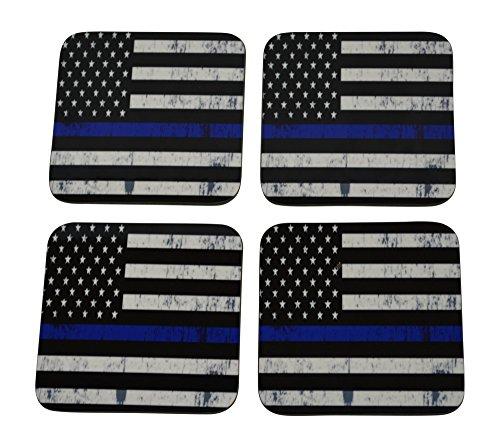 Blue Lives Matter Drink Coaster Set Gift For Police Officer Department Thin Blue Line Home Kitchen Bar Barware -