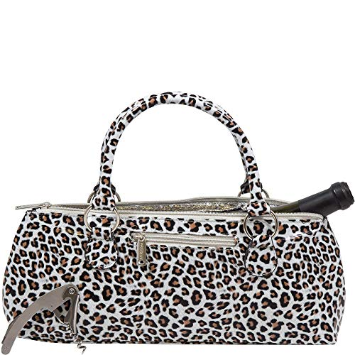 Wine Clutch Bag (Thermal Insulated) Trendy Womens Carry Tote   Holds Red & White 750mL Bottles   Trendy Fashion   Incl. Portable Waiter-Style Corkscrew (White Cheetah)