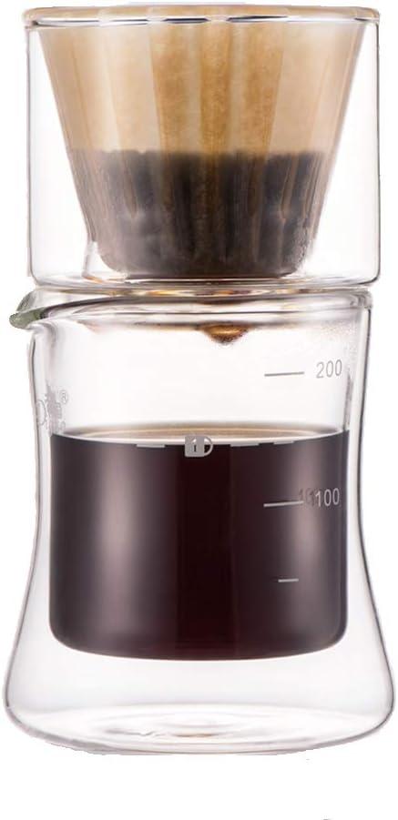 Vierta-sobre el sistema de la cafetera, máquina de café del Brew de la mano del vidrio con el café Filter & Cup 1 persona café: Amazon.es: Hogar