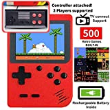 DigitCont Retro Game Console Mini Game Pocket Game Player with 500 Classic Game 1020mAh Rechargeable Battery 3 Inch IPS Screen Portable Video Game Console Best Childhood Memory Present Gift for Kids Adults Red