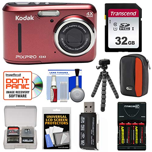 KODAK PIXPRO Friendly Zoom FZ43 Digital Camera (Red) with 32GB Card + Batteries & Charger + Case + Flex Tripod + Kit