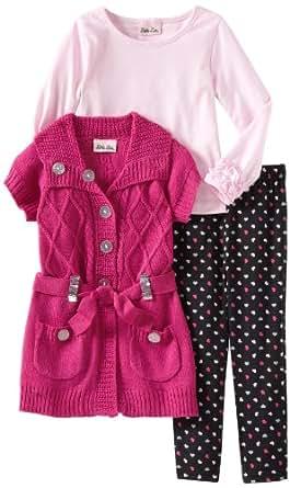 Little Lass Little Girls' Toddler 3 Piece Sweater Set With Collar, Fuchsia, 2T