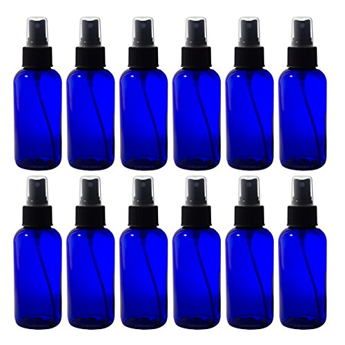 Cobalt-Blue-4-oz-Boston-Round-PET-Bottle-BPA-Free-with-Black-Fine-Mist-Sprayer-12-pack-Labels