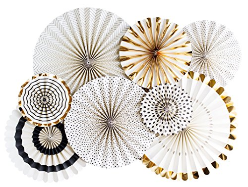 My Minds Eye Paperlove Black Tie, Ivory, Black and Gold Double-Sided Party Fans and Confetti, Set of 8 Fans