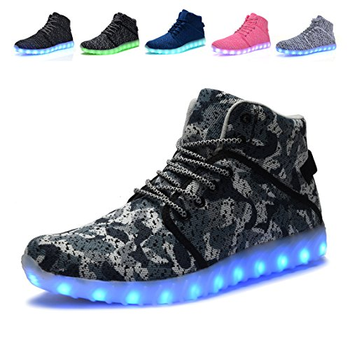 Image of MONEM EOUGGZL High Top LED Light up Shoes Fashion Sneakers for Kids Girls Boys