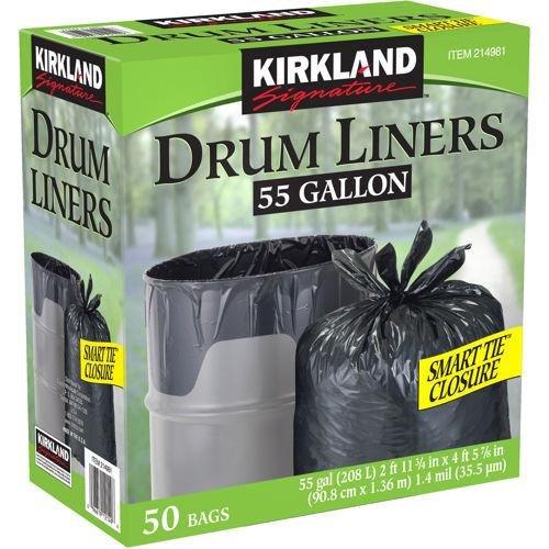 Kirkland Signature Smart Closure Technology Trash Wraps, for 55 Gallon, 50 Count