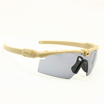 EnzoDate Gafas de Sol polarizadas Gafas de Militares del ejército los Hombres Frame 3/4 Lente Agencia de Juego de Guerra eyeshields(Marrón, polarizado 4 ...