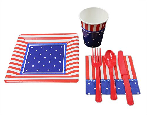 4th of July Party Pack Seats 8 - Cups, Napkins, Plates & Cutlery, Patriotic Party Supplies - American Classic 4th of July Decorations