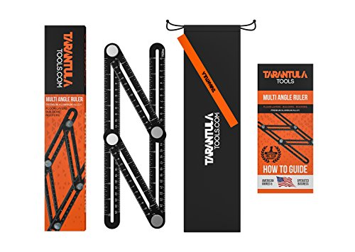 Tarantula Tools Multi Angle Template Tool - Black Aluminum Adjustable Ruler Angleizer - Ultimate Measuring Tool - All Metal No Plastic - Easy To Set For The Right Measurement - Makes Perfect angles (Set Measuring Tool)