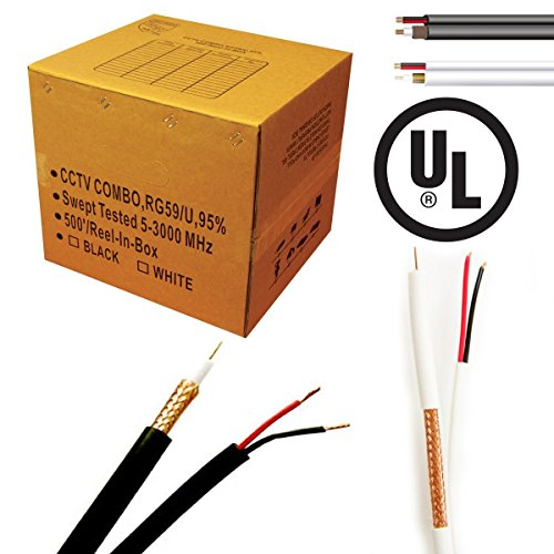 (Economical RG-59/U Siamese cable. 500FT, 18/2AWG POWER cable, 20AWG COAX Cable, Black Color)