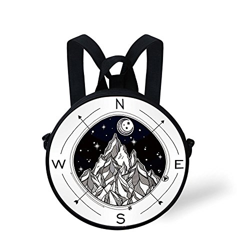 iPrint Toddler Preschool Backpack,Adventure,Hand Drawn Mountain Wind Rose Compass Bohemian Style with Night Sky Tattoo Art Decorative,Black White,for Little Boys Girls