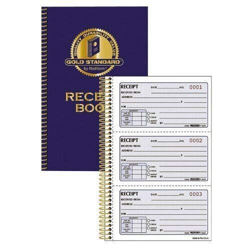 2 Part (8l829) 'Rediform Gold Standard Receipt Book - 225 Sheet[s] - Wire Bound