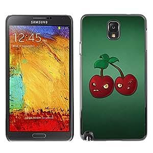 QCASE / Samsung Note 3 N9000 N9002 N9005 / cerezas gruñones enojados bayas rojas de alimentos saludables / Delgado Negro Plástico caso cubierta Shell Armor Funda Case Cover
