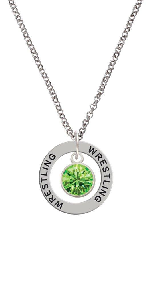 10mm Lime Green Crystal Drop - Wrestling Affirmation Ring Necklace