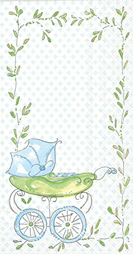 Ideal Home Range BF707649 Rosanne Beck 16 Count Paper Buffet Guest Towels, Blue Baby Carriage