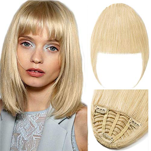 New Fashion Clip in Bangs One Piece Fringe 100% Natural Remy Human Hair Extensions Hairpiece Neat Fringe Hand Tied Thick Straight Bangs with Temple Hair Piece Accessories for Girls ()