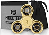 Fidget Spinner [3d Figit] | Tri Spinners | Double Sided Figet Toy with Pouch and Warranty (Gold) by Fidgeteer