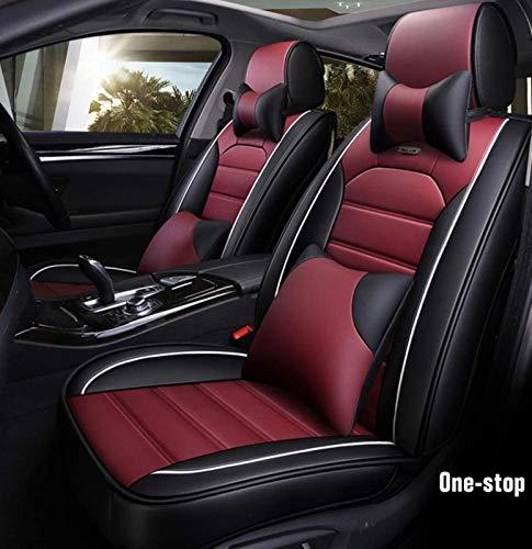 Car Seat Covers, 5-zits complete set universeel compatibel airbags for en achter ademende kwaliteit leer Comfort Kussen…