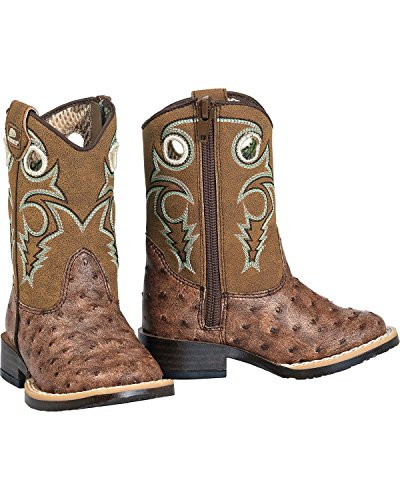 Double Barrel Toddler-Boys' Brant Ostrich Print Boot Square Toe Brown 4.5