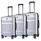 Luggage Set Expandable Premium Carbon Fiber Suitcase 3 Piece Set TSA Lightweight Spinner Carry On Luggage SILVER