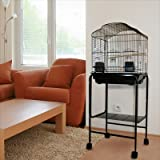 Kahua Kabin Dometop Bird Cage with Stand – 18″W x 14″D x 50″H – Black, My Pet Supplies