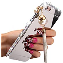 Fuzzy Green Limited Elegant Tassels Pendant 3D Luxury Bling Diamonds Aluminum Metal Bumper Frame Case with Mirror Back Plate Cover for iPhone 7 Plus - Silver