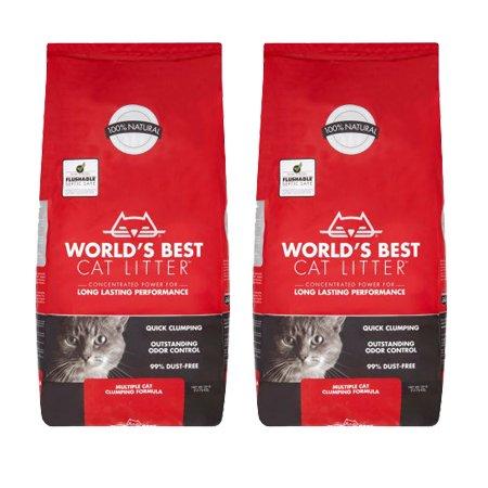 World's Best Cat Litter 28 lbs Odor Control Multiple Cat Clumping Formula, 2 Pack