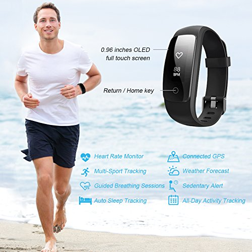 Fitness Tracker HR with a Replacement Band, Letsfit Activity Tracker Watch with Heart Rate Monitor, IP67 Water Resistant Pedometer, Calorie and Step Counter Watch for Android & iOS