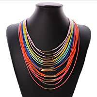 Hunputa Fashion Multi Layers PU Leather Charm Statement Chain Choker Pendant Necklace Jewelry (Multicolor)
