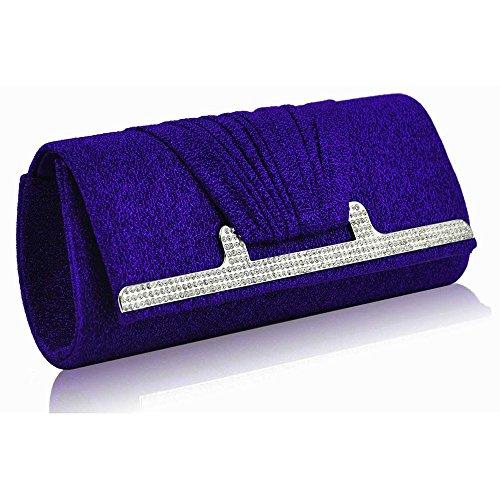 Bolso de mano para mujer, diseño de cristal, de fiesta, de noche A - Blue