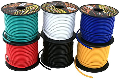 16 Gauge Ga 6 Rolls of 100 Feet (600 ft total) Copper Clad Aluminum Primary Wire. Great for Audio Speaker Amplifier Remote Automotive Trailer Wiring. Cable Color Set: Black Red Blue White Yellow Green ()