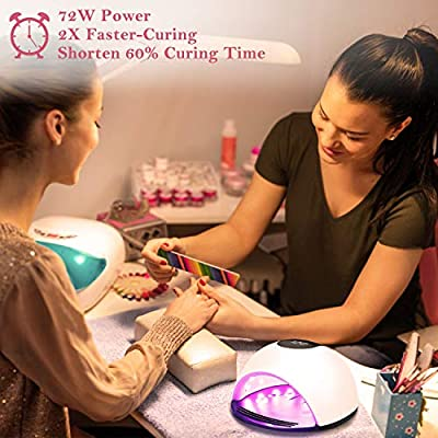 UV LED Nail Lamp, Nivlan Professional 72W Nail Dryer for Gels Polishes, Nail Curing Light with 4 Timer Setting, Smart Automatic Sensor