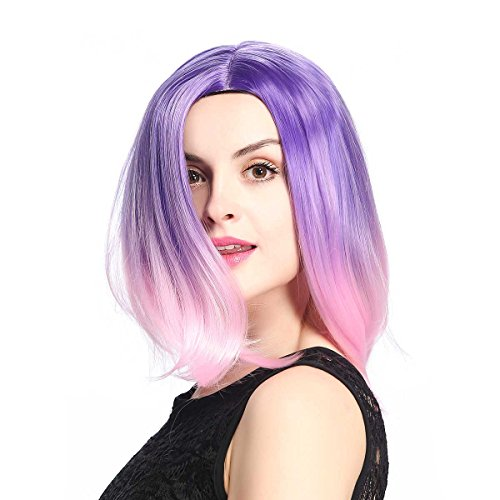 KISSPAT Purple/Pink Ombre Wig, Pretty Colors Synthetic Wig, Free Wig Cap & Storage Box(12