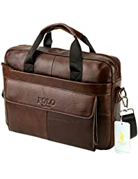 VIDNEG POLO Handmade Briefcase Top Grain Leather Laptop Bag Messenger Shoulder Bag for Business Office 15 inch Macbook Father Day's Gift (MP-Coffee Brown)