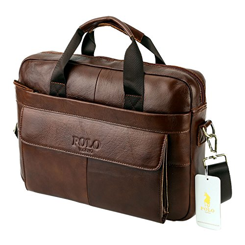 VIDNEG POLO Handmade Briefcase Top Grain Leather Laptop Bag Messenger Shoulder Bag for Business Office 15 inch Macbook … (MP-Coffee - Bag Classic Polo