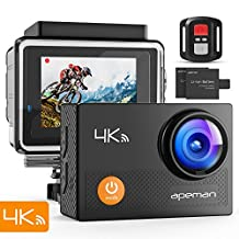"""APEMAN Action Camera 4K WiFi Ultra HD Waterproof Sports DV Camcorder 170 Degree Wide Angle/2"""" LCD/2.4G Wireless Remote Control/2 Rechargeable Batteries/20 Mounting Kits"""