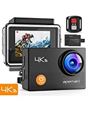 """APEMAN Action Camera 4K WiFi 20MP Waterproof Underwater Camera Ultra Full HD Sport Cam 30M Diving with 2"""" LCD 170 Degree Wide-Angle, 2.4G Remote Control, 2 Rechargeable Batteries, 20 Accessories Kits"""