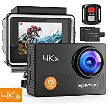 """APEMAN Action Camera 4K WiFi 16MP Waterproof Underwater Camera Ultra Full HD Sport Cam 30M Diving with 2"""" LCD 170 Degree Wide-Angle, 2.4G Remote Control, 2 Rechargeable Batteries, 20 Accessories Kits"""