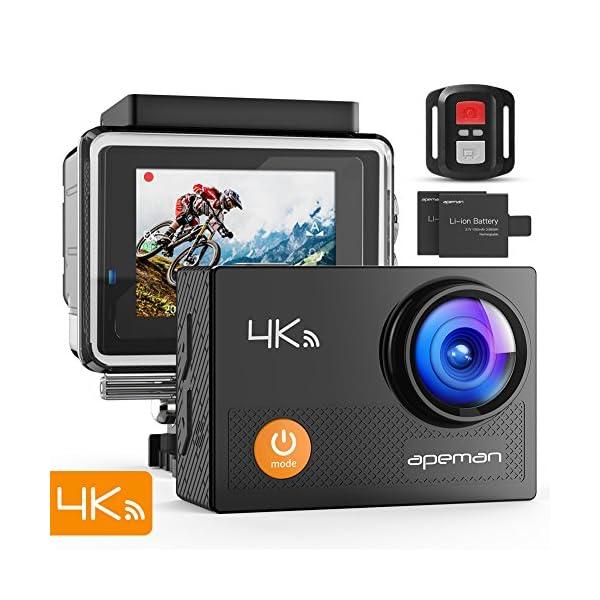 APEMAN Action Cam A77, 4K 20MP Wi-Fi Impermeabile 30M con Telecomando Fotocamera Subacquea Digitale, Hyper… 1 spesavip