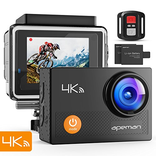 APEMAN Action Camera 4K WiFi 16MP Waterproof Underwater Camera Ultra Full HD Sport Cam 30M Diving with 2 LCD 170 Degree Wide-Angle, 2.4G Remote Control, 2 Rechargeable Batteries, 20 Accessories Kits