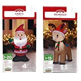 Airblown Inflatable Outdoor Christmas Characters, 2 Piece Set, Santa Claus and Reindeer